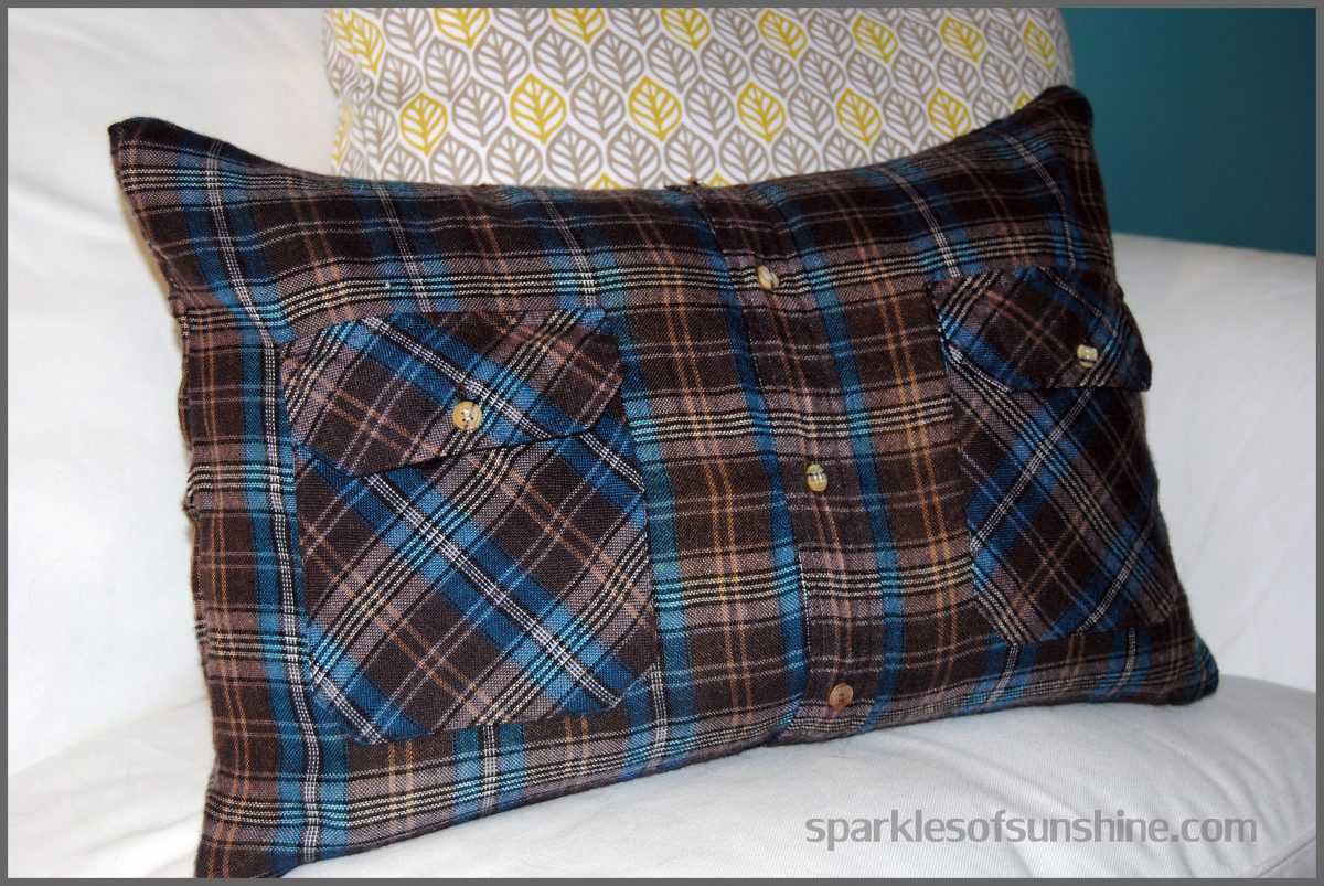 How to make a flannel shirt pillow in 5 easy steps for How to put a picture on a shirt diy
