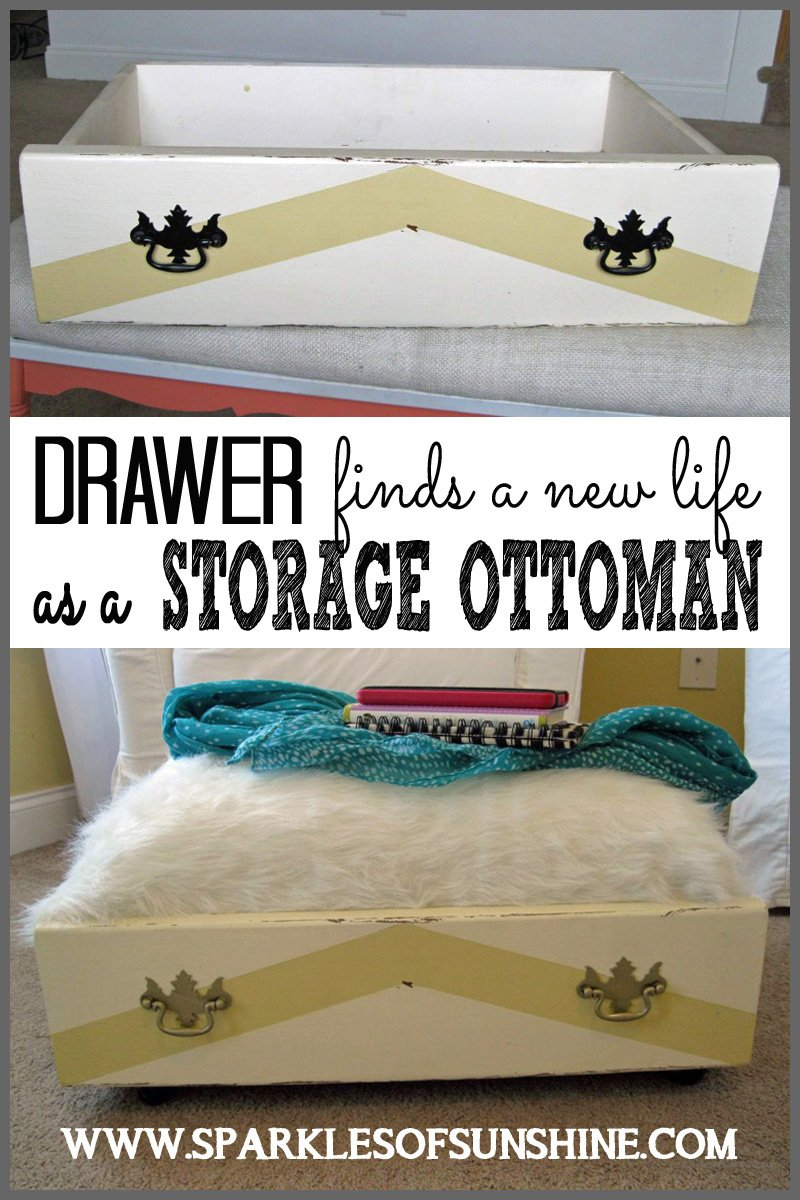 Transform an old drawer into something useful...a storage ottoman! - Drawer Finds A New Life As A Storage Ottoman - Sparkles Of Sunshine