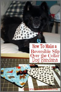 Pamper your pooch today! Learn how to make a reversible over the collar dog bandana at Sparkles of Sunshine.