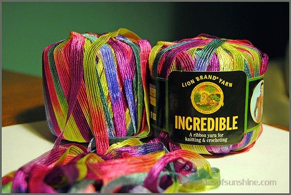 Crocheted Ribbon Yarn Scarf - Sparkles of Sunshine