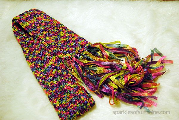 Crochet Scarf Patterns Ribbon Yarn : Crocheted Ribbon Yarn Scarf - Sparkles of Sunshine