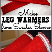 Make leg warmers from the sleeves of an old sweater. See the tutorial at Sparkles of Sunshine.