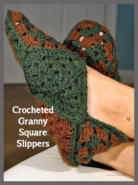 Crochet Pattern For Granny Square Slippers : Crocheted Granny Square Slippers - Sparkles of Sunshine