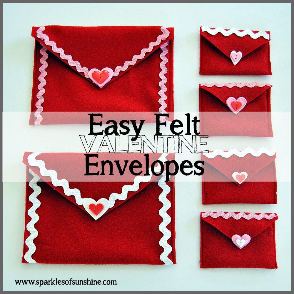 Easy Felt Valentine Envelopes at Sparkles of Sunshine
