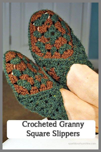 Crocheted Granny Square Slippers - Sparkles of Sunshine