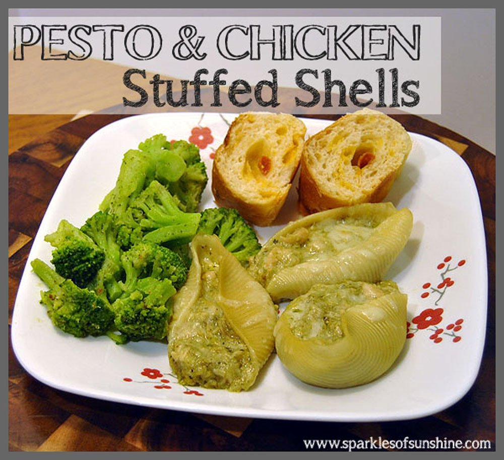 Pesto & Chicken Stuffed Shells Recipe at Sparkles of Sunshine