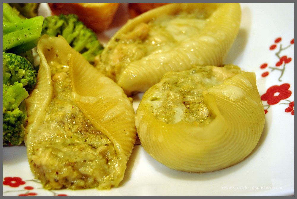 Pesto & Chicken Stuffed Shells from Sparkles of Sunshine