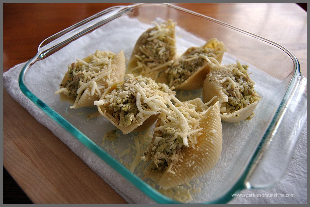 Recipe-Pesto & Chicken Stuffed Shells at Sparkles of Sunshine