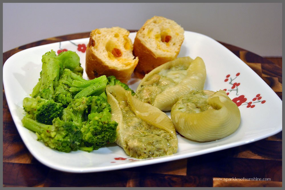 Sparkles of Sunshine Pesto & Chicken Stuffed Shells