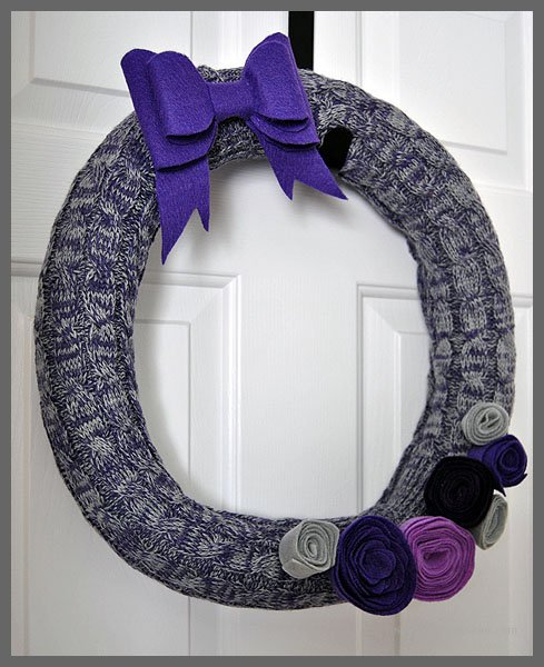 Thifty Winter Pool Noodle Wreath Made with Leg Warmers