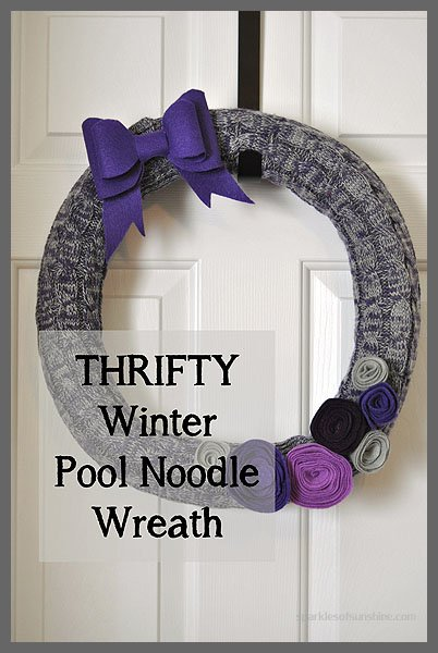 Thrifty Winter Pool Noodle Wreath at Sparkles of Sunshine