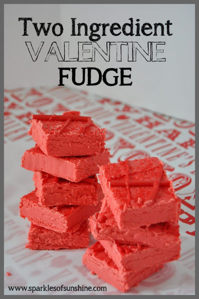Two Ingredient Valentine Fudge at Sparkles of Sunshine