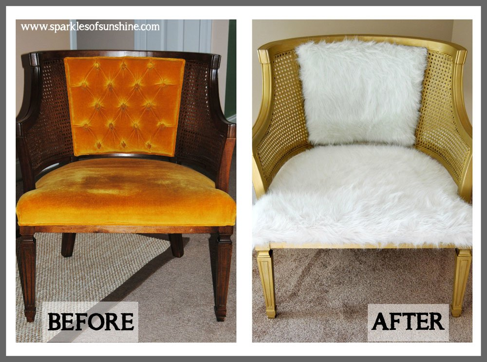 Cane Chair Goes Glam-Chair Before & After at Sparkles of Sunshine