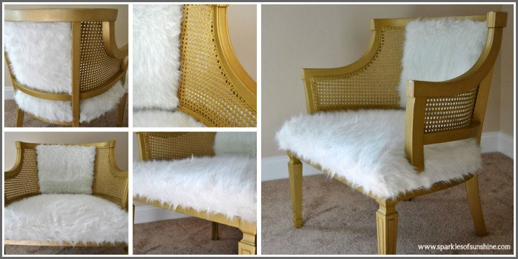Cane Chair Goes Glam-Gold Cane Chair at Sparkles of Sunshine