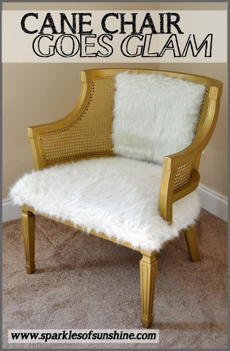 Cane Chair Goes Glam at Sparkles of Sunshine-Cane Chair Makeover