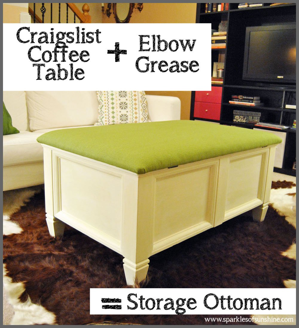 Craigslist Coffee Table Storage Ottoman at Sparkles of Sunshine - Craigslist Coffee Table Makeover - Sparkles Of Sunshine