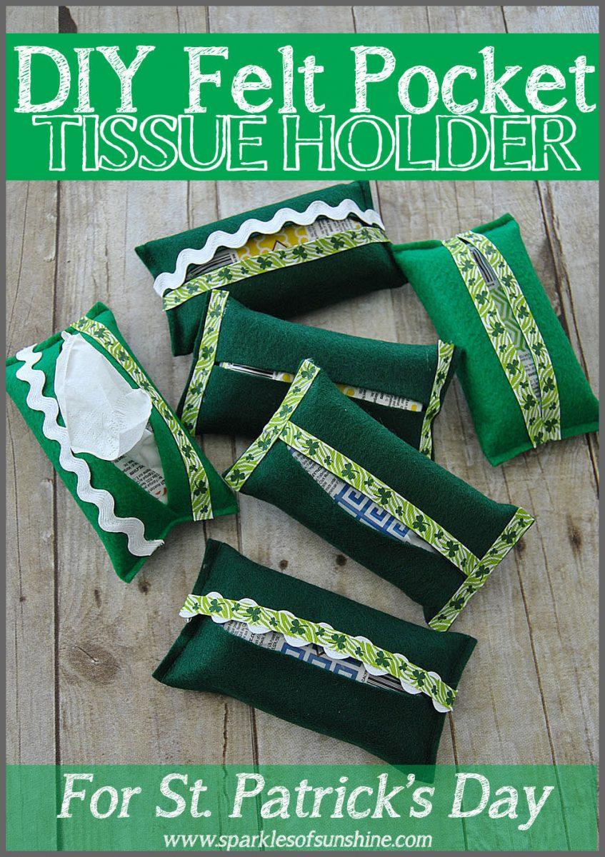 圣帕特里克节毛毡袋纸巾架|轻松圣帕特里克节装饰|缝纫项目|特色