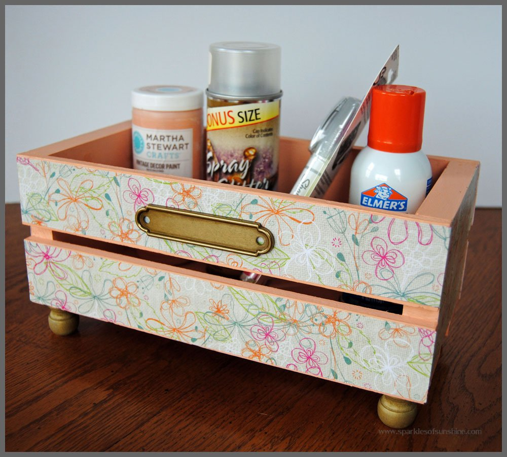 DIY Glammed Up Wooden CD Crate at Sparkles of Sunshine