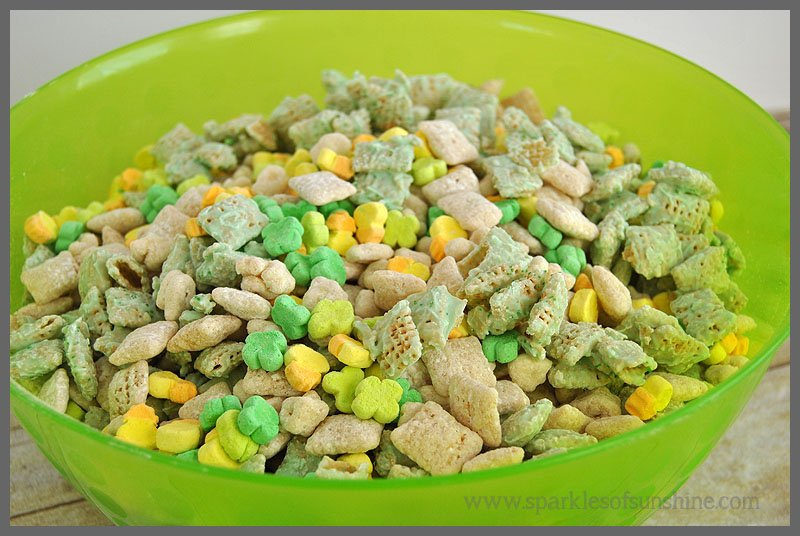 Snack Mix for St. Patrick's Day made with Lucky Charms at Sparkles of Sunshine
