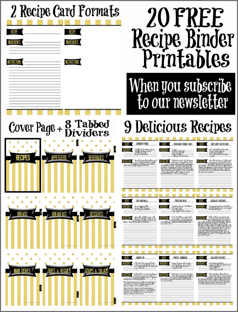 graphic relating to Printable Binder Inserts identified as 15 Totally free Recipe Playing cards Printables, Templates, and Binder Inserts