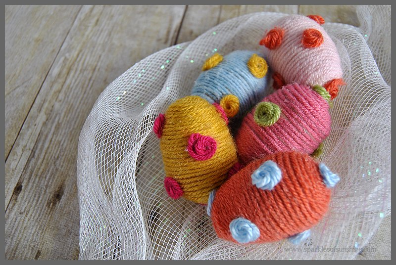 how to make easter egg basket with yarn