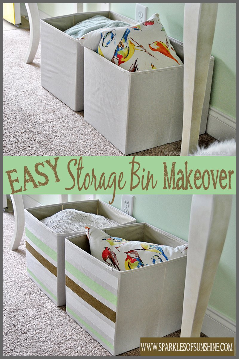 Have cheap storage bins lacking personality? Check out this easy storage bin makeover at Sparkles & Easy Storage Bin Makeover - Sparkles of Sunshine