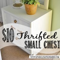 Check out an easy thrift store small chest makeover at Sparkles of Sunshine. A beat-up thrifted $10 small chest gets transformed into a beauty!