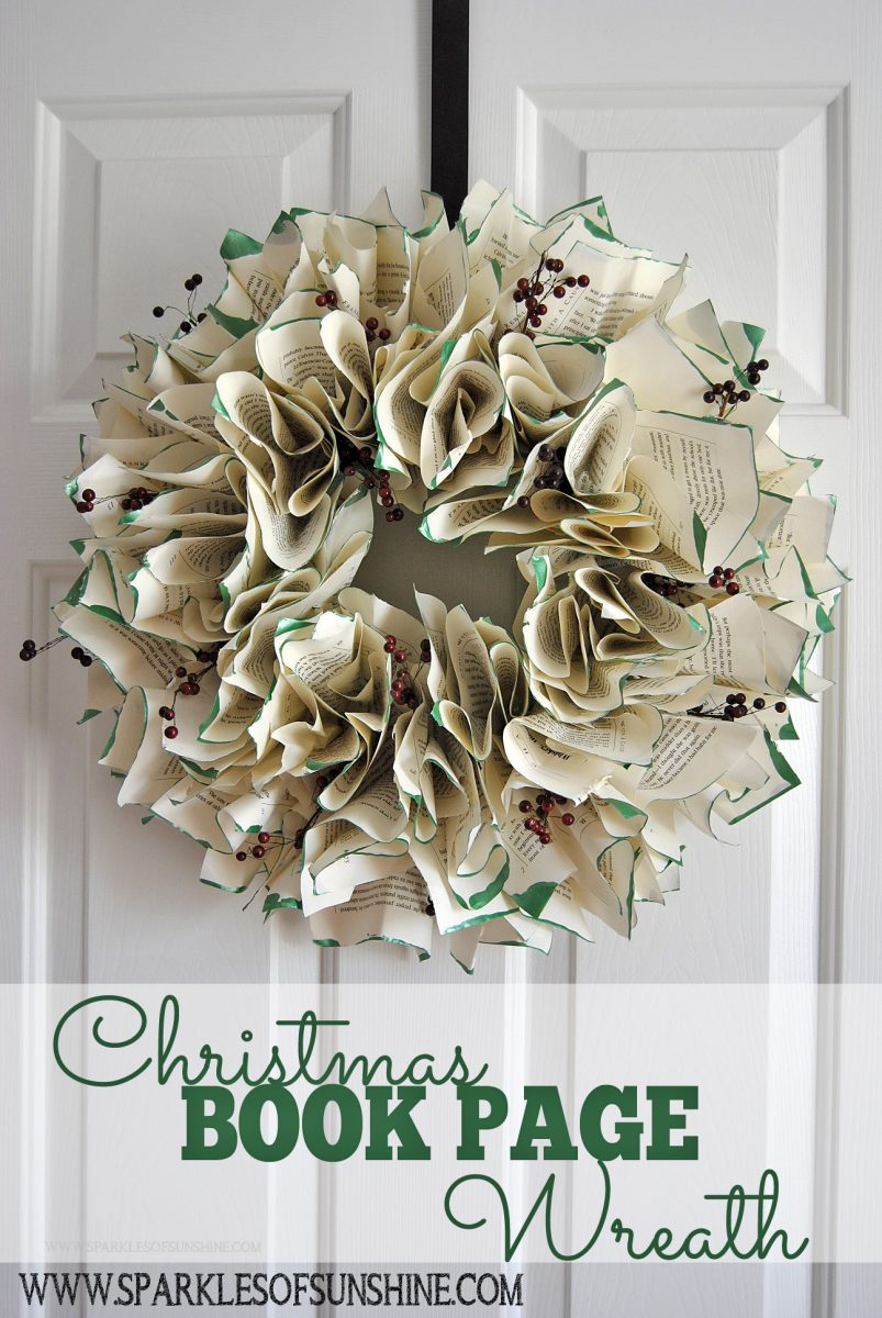 Christmas book page wreath sparkles of sunshine for How to decorate a christmas wreath