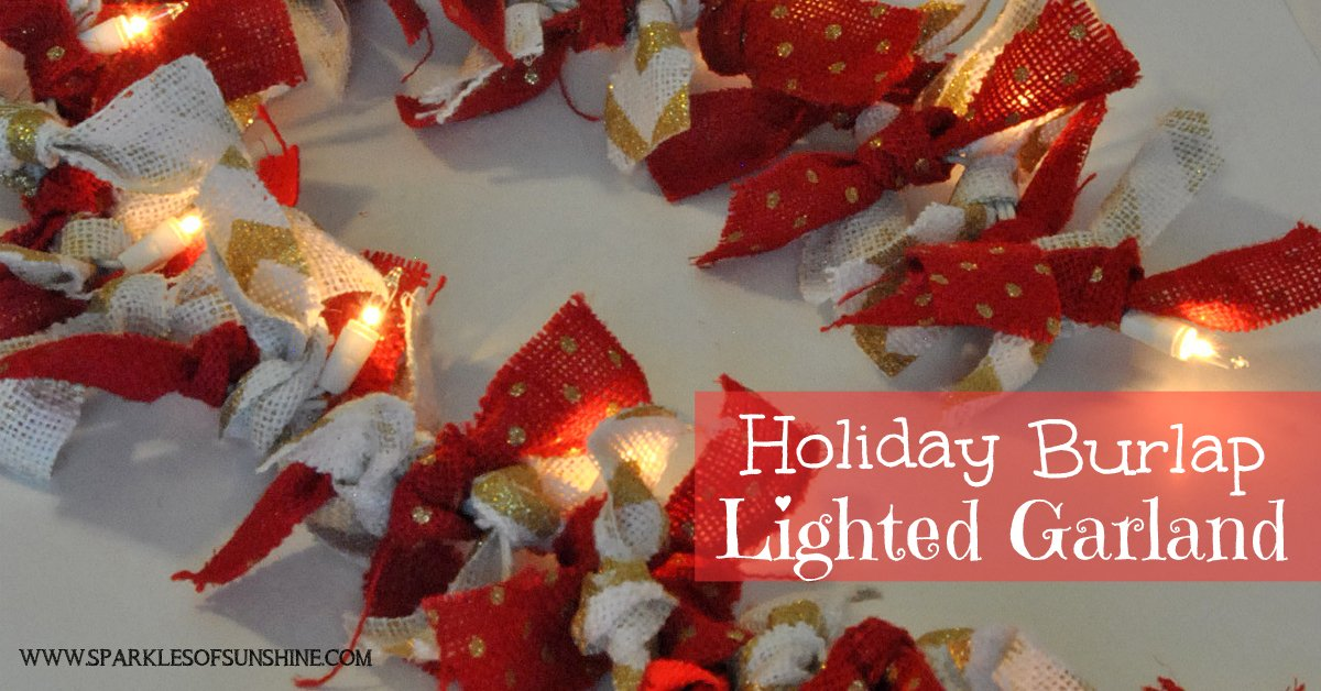Holiday Burlap Lighted Garland Sparkles Of Sunshine