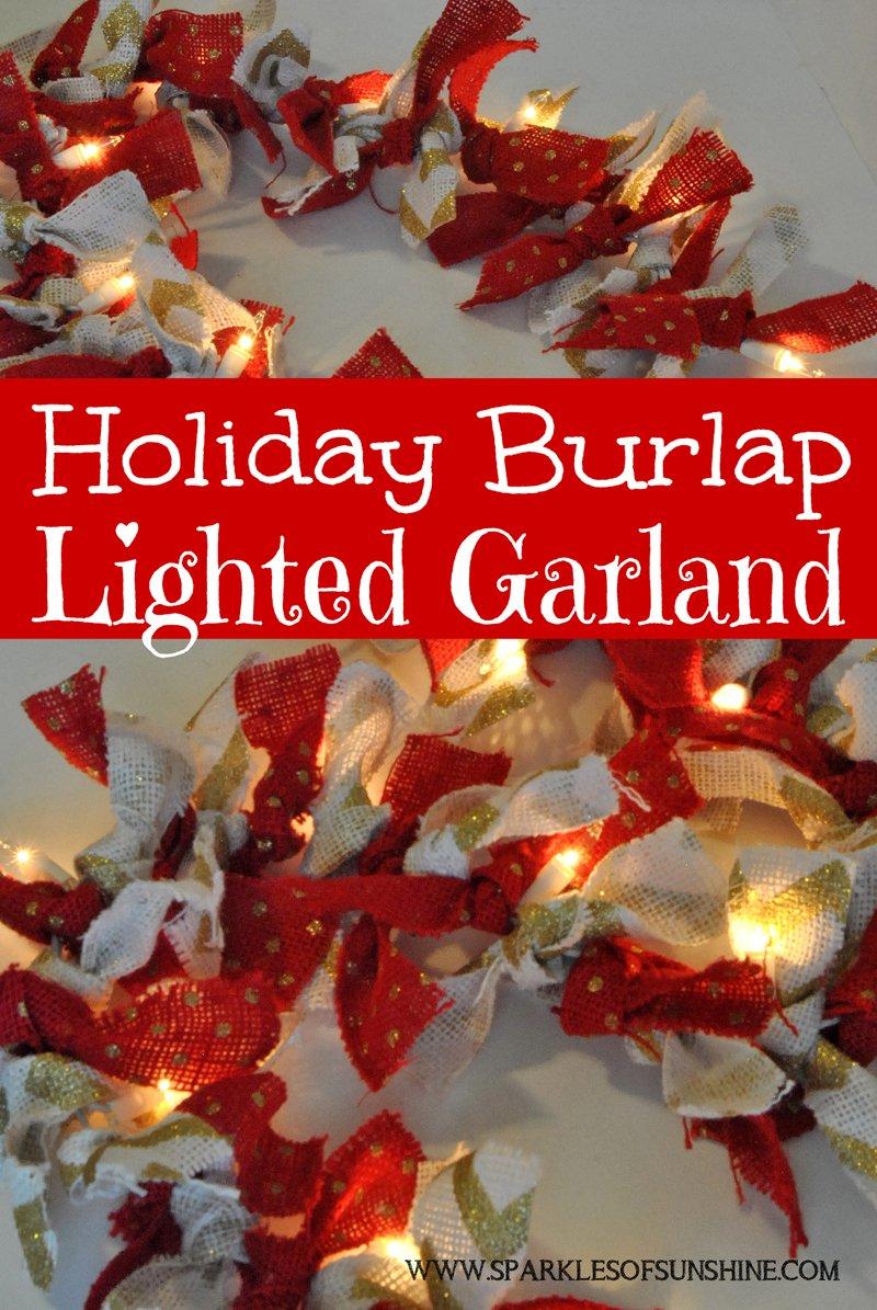 Holiday Burlap Lighted Garland Sparkles