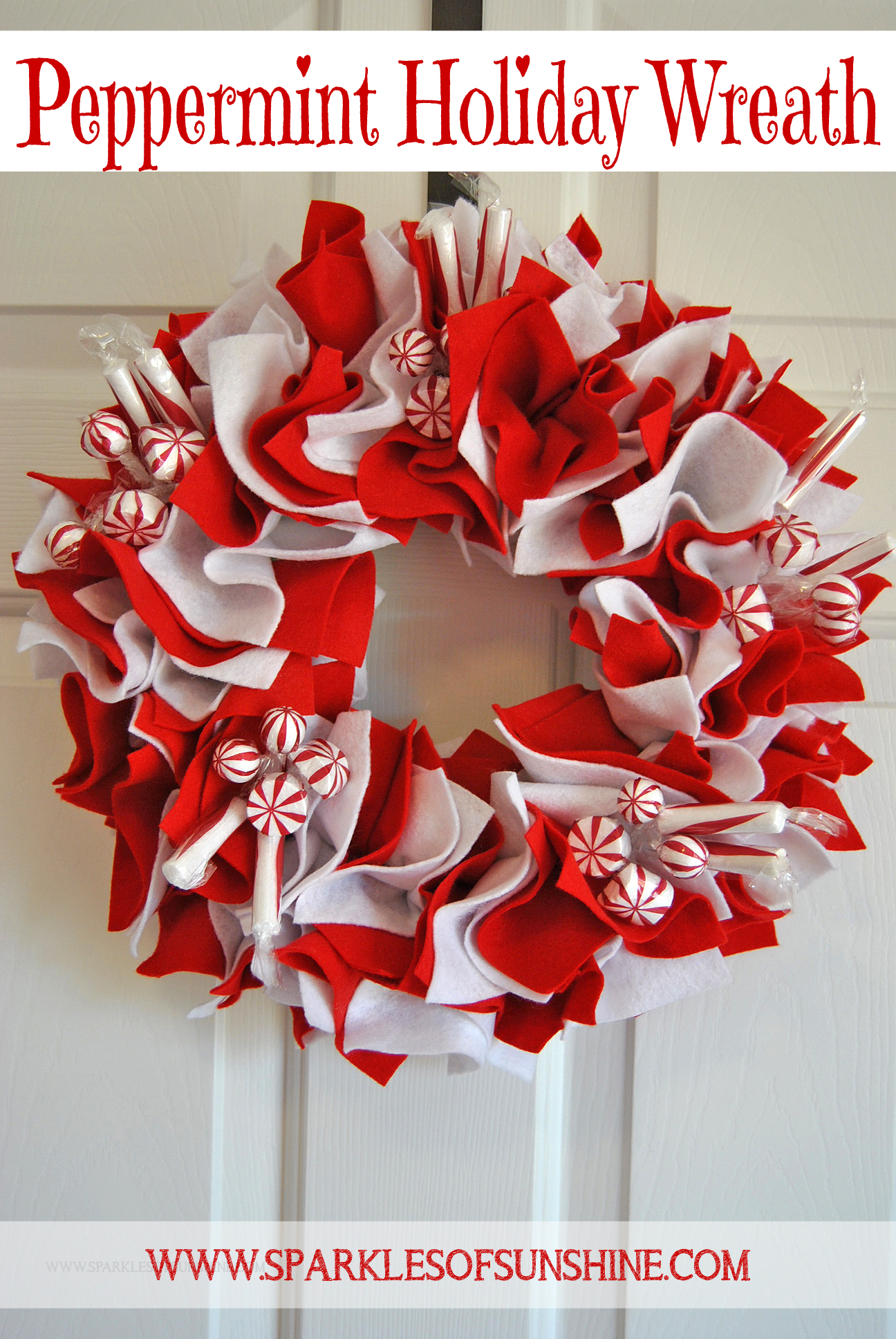 Add something sweet to your Christmas decor this year with a Peppermint Holiday Wreath!