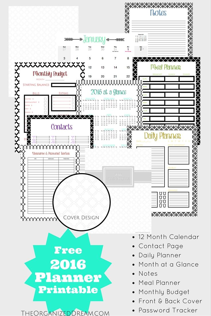 Free Printable 2016 Planners Amp Calendars Sparkles Of