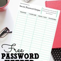 Keep track of all those passwords with this Free Printable Secret Password Keeper from Sparkles of Sunshine.