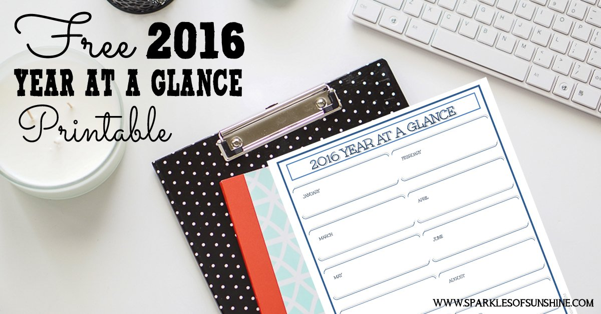 free 2016 year at a glance printable sparkles of sunshine