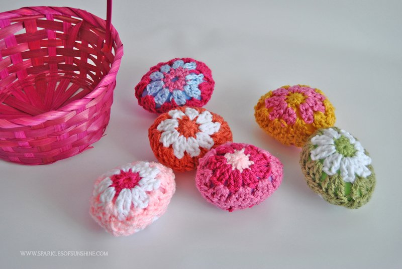 Granny Square Crochet Easter Eggs - Sparkles of Sunshine