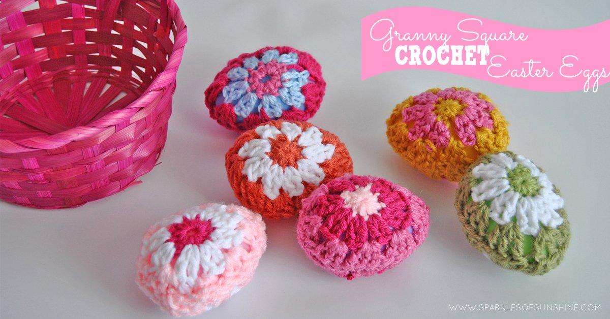 Granny Square Crochet Easter Eggs - Sparkles of Sunshine