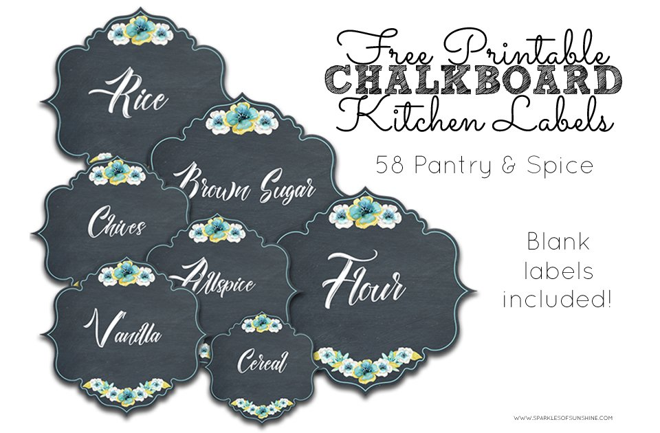 image regarding Kitchen Labels Free Printable referred to as Absolutely free Printable Chalkboard Kitchen area Labels FI - Glints of