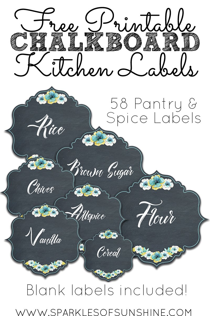 Free Printable Chalkboard Kitchen Labels - Sparkles of Sunshine