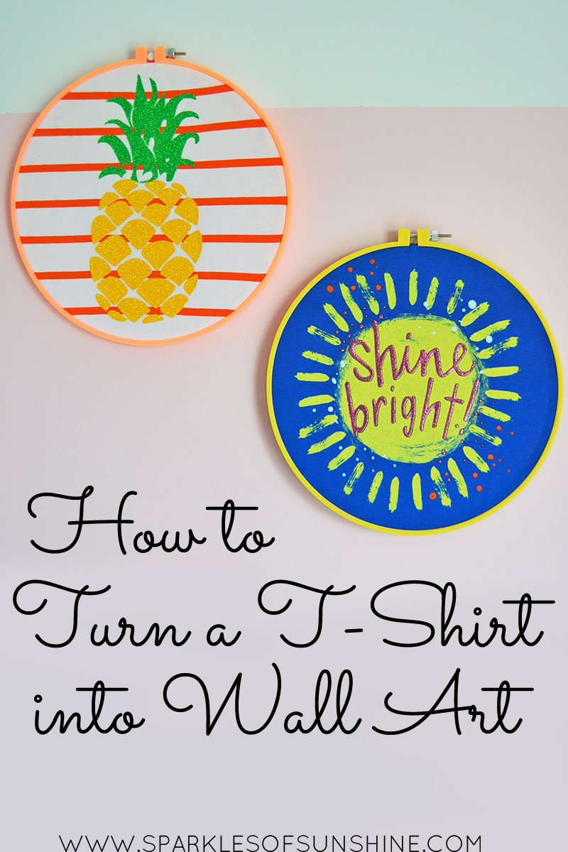 how to turn a t shirt into wall art sparkles of sunshine. Black Bedroom Furniture Sets. Home Design Ideas