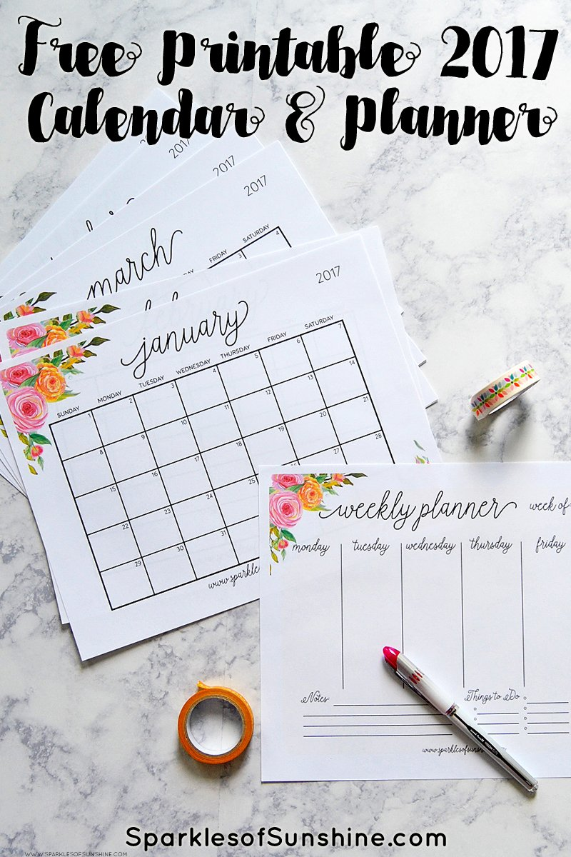 Free Printable 2017 Calendar and Matching Weekly Planner