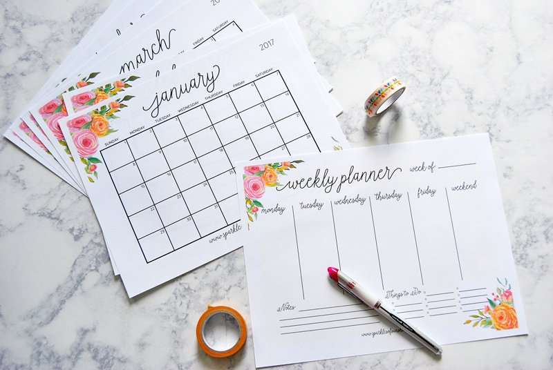40+ Awesome Free Printable 2017 Calendars And Planners - Sparkles