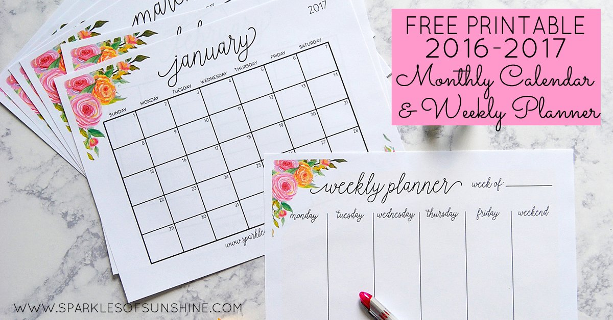 Free Printable 2017 Monthly Calendar and Weekly Planner