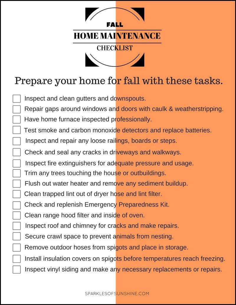 Fall Home Maintenance Checklist - Sparkles of Sunshine