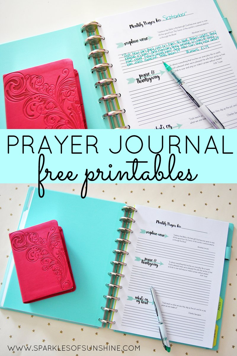 Prayer Journal Free Printables - Sparkles of Sunshine