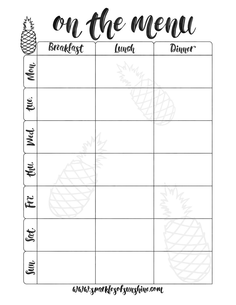 Save Money By Sticking With A Menu. This Free Printable Menu Will Make Meal  Planning