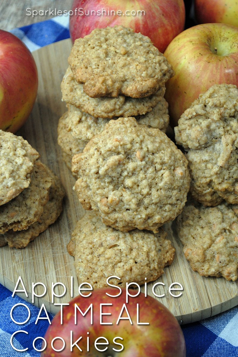 Enjoy the fall season with apple spice oatmeal cookies, the perfect treat to enjoy with apple cider on cool, crisp days.