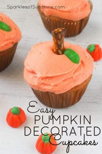 Even if you're not a pumpkin spice fan you can enjoy these cupcakes this fall. It's easy to decorate these tasty vanilla cupcakes with vanilla buttercream frosting to look like pumpkins. Get the recipe and directions today.