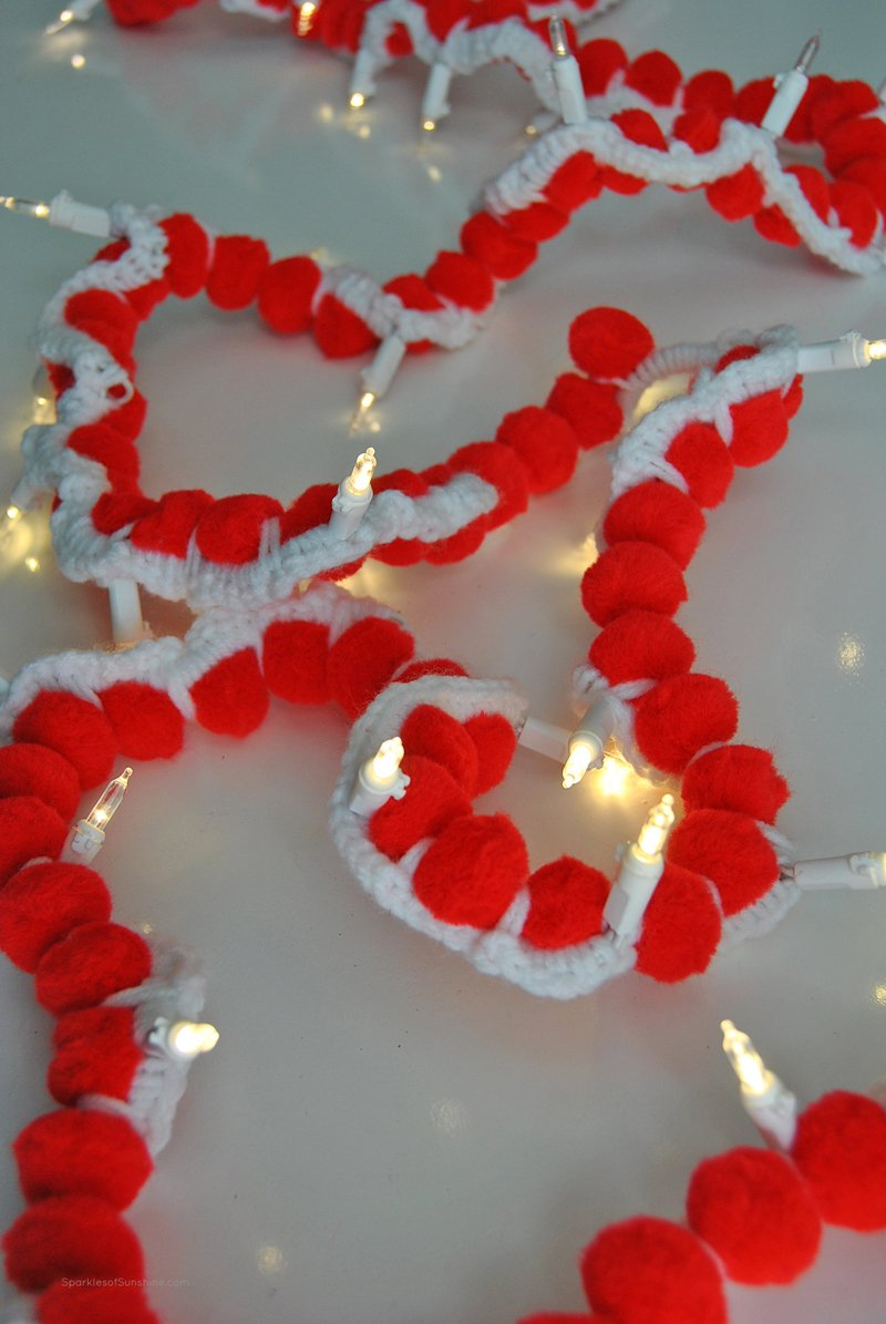 Crochet Pom Pom Lighted Garland