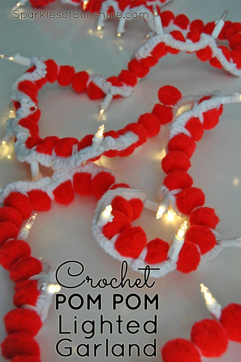 Merry And Bright Easy Crochet Pom Pom Lighted Garland Sparkles Of Sunshine