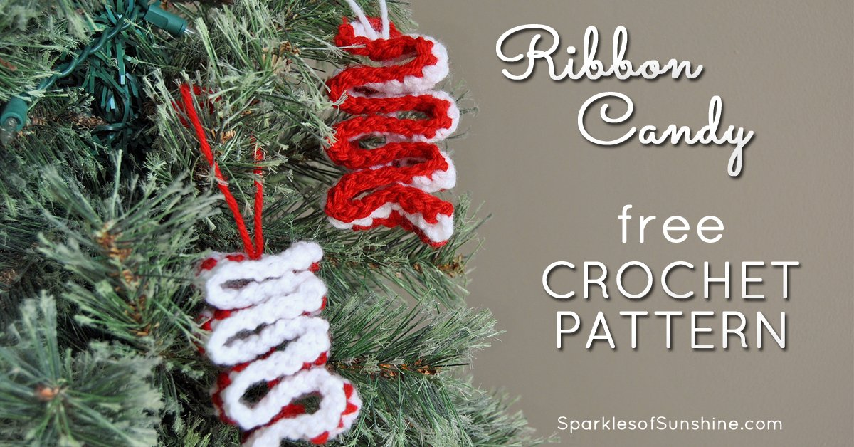 Candy Christmas.Easy Crochet Ribbon Candy Christmas Ornament With Free